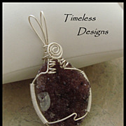 Beautiful Purple Amethyst Drusy Crystal Pendant Hand Wire Wrapped