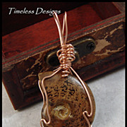 REDUCED Polished Whole Ammonite Fossil Pendant Hand Wired