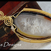 SALE PENDING Lovely Brazilian Agate Slice Pendant hand Wire Wrapped