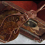 REDUCED Hand Wire Wrapped Half Shell Ammonite Fossil Pendant