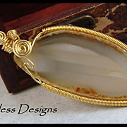 REDUCED Soft Beige Hand Wire Wrapped Agate Slice Pendant