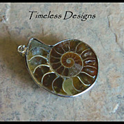 REDUCED Mounted Half Shell Ammonite Fossil Pendant