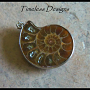 REDUCED Mounted Ammonite Fossil Half Shell Pendant