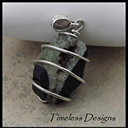Striking Large Green-Black Drusy Agate Wired Pendant