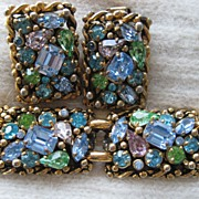 Barclay Multi-Colored Rhinestone Bracelet Earrings Demi