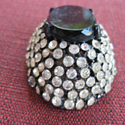 Magnificent Black Glass Cab Rhinestone Brooch