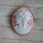 Gorgeous Glass Pink and White Cameo from Rome