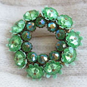 Dazzling Green Rhinestone Brooch