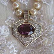Elegant  Panetta Simulated Pearl Amethyst Necklace and Earrings