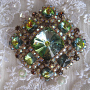 Rivoli Green and Aurora Borealis Rhinestone Brooch