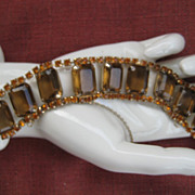 Gorgeous Topaz-Colored Rhinestone Bracelet