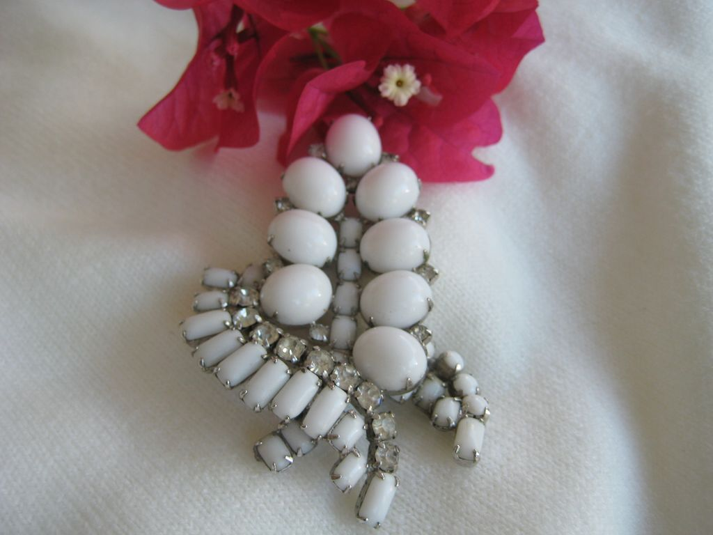 Kramer Milk Glass Rhinestone Brooch