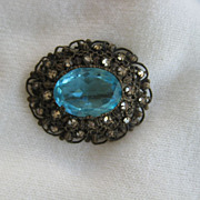Ornate Aqua Topaz-Colored Brooch