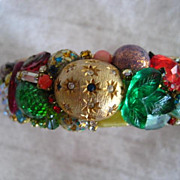 SALE Hand Made Colorful Vintage Stone Cuff Bracelet
