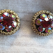Ravishing Red & Aurora Borealis Goldtone Earrings