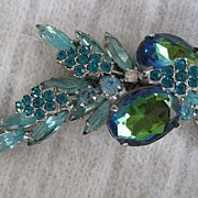 Magnificent Aqua Teal Watermelon D& E Juliana Rhinestone Brooch