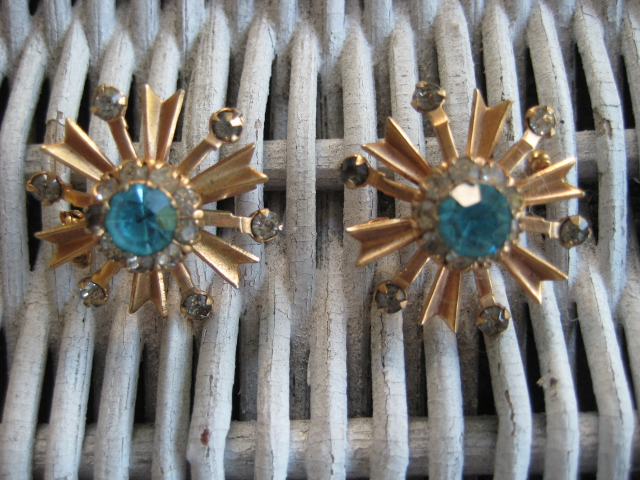 Starburst Matching Blue Rhinestone Brooch Pins