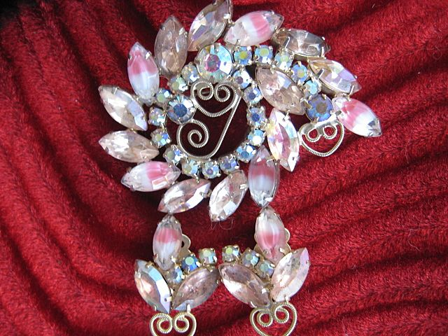 Romantic  Pink Art Glass Rhinestone Brooch Earrings Demi