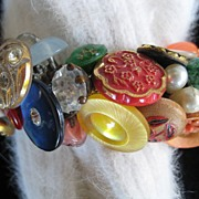 Colorful Vintage Button Bracelet