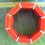 Kramer Brick Orange Geometric Lucite Bracelet Signed