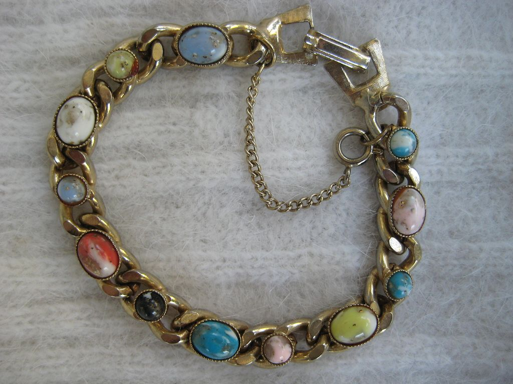 Colorful Glass Cabochon Goldtone Bracelet