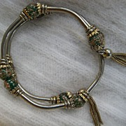 Glass Gold-Speckled Twist Tassel Goldtone Bracelet