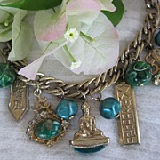 SALE Vintage Asian Emerald-Green Confetti Charm Bracelet