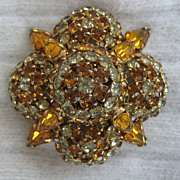 SALE Warner Large Topaz-Colored Rhinestone Brooch