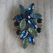Blue Aqua Art Glass Rhinestone Silvertone Brooch