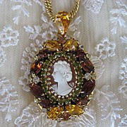 SALE Hobe Cameo Rhinestone Locket and 12K GF Necklace