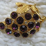 Purple Glass Clear Rhinestone Grapevine Brooch