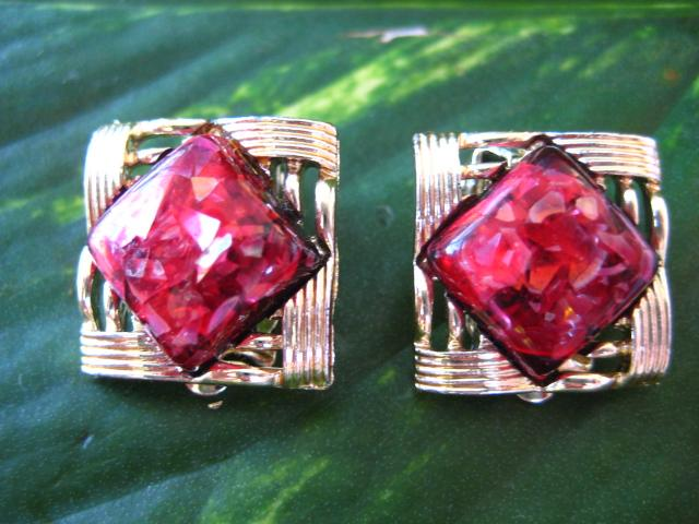 Vintage Signed Coro Red Confetti Lucite Goldtone Earrings
