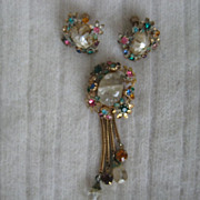 Ornate LISNER Rhinestone Dangle Brooch Earrings