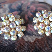 Gorgeous Aurora Borealis Rhinestone Clip Earrings