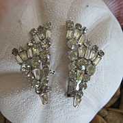 Large Baguette Rhinestone Clip Earrings