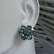 Sky Blue Barclay Goldtone Rhinestone Earrings