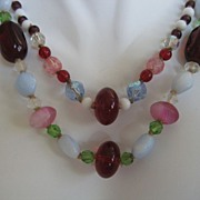 Vintage Red Glass Bead Crystal Necklace