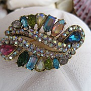 SOLD Gorgeous Hollycraft Multi-Colored Rhinestone Brooch - Red Tag Sale Item