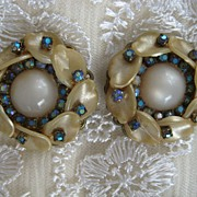 Celluloid Rhinestone Moonglow Clip Earrings