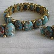 Magnificent Har Speckled Egg Cabochon Bracelet Earrings
