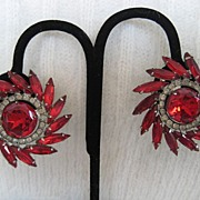 Dynamite Ruby-Red Rhinestone Silvertone Earrings