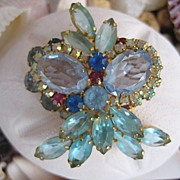 Tantalizing Juliana D&E Aqua Blue Rhinestone Brooch