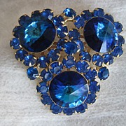 SALE Juliana D&E Capri Blue Crystal Brooch