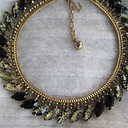 Hobe Black Speckled Art Glass Rhinestone Necklace