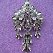 Spectacular Extra Large Weiss Baguette Reticulated Rhinestone Brooch