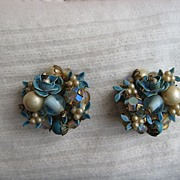 Ornate Blue Enamel White Faux Pearl Earrings