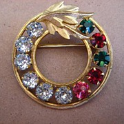 Vintage 14KGF Multi-Colored Rhinestone Brooch