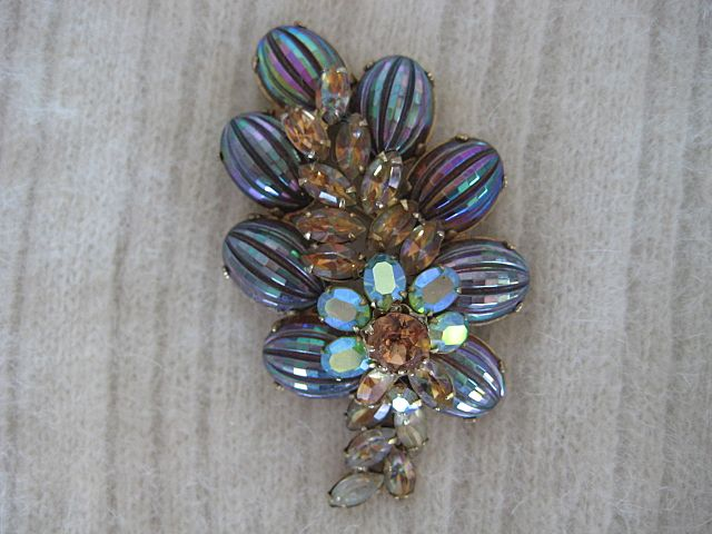 Mesmerizing Large Vendome Iridescent Rhinestone Brooch