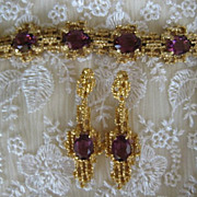 Spectacular Purple Panetta Glass Cabochon Bracelet Earrings