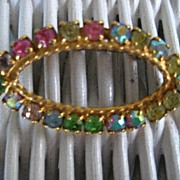 Vintage Multi-Colored Rhinestone Goldtone Brooch